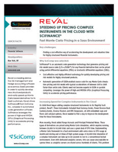Reval/SciFinance Case Study